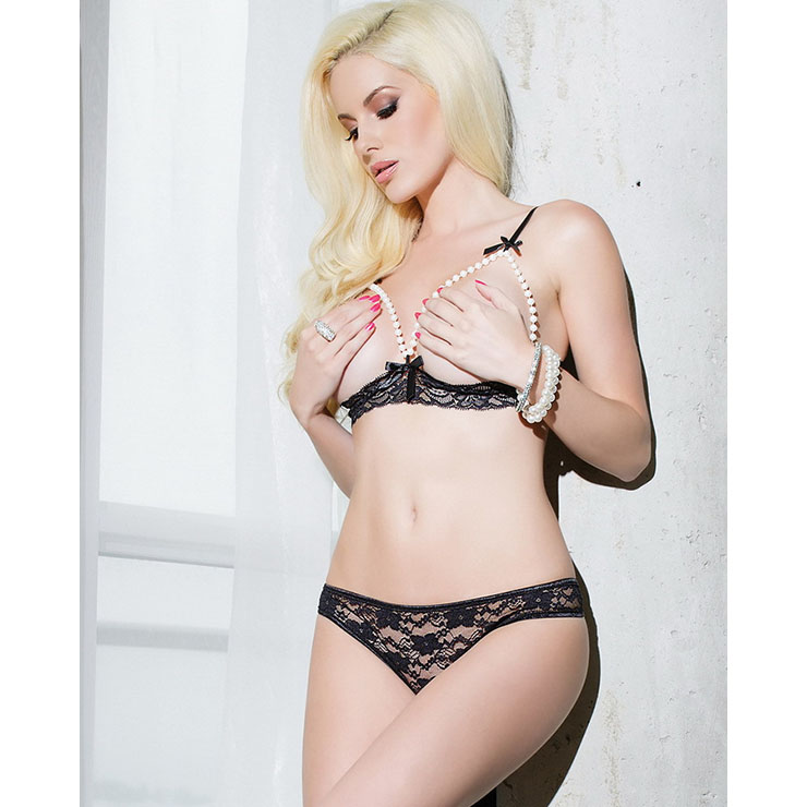 Sexy Black Floral Lace Pearl Cupless Bra Top Panty Lingerie Set  N16528
