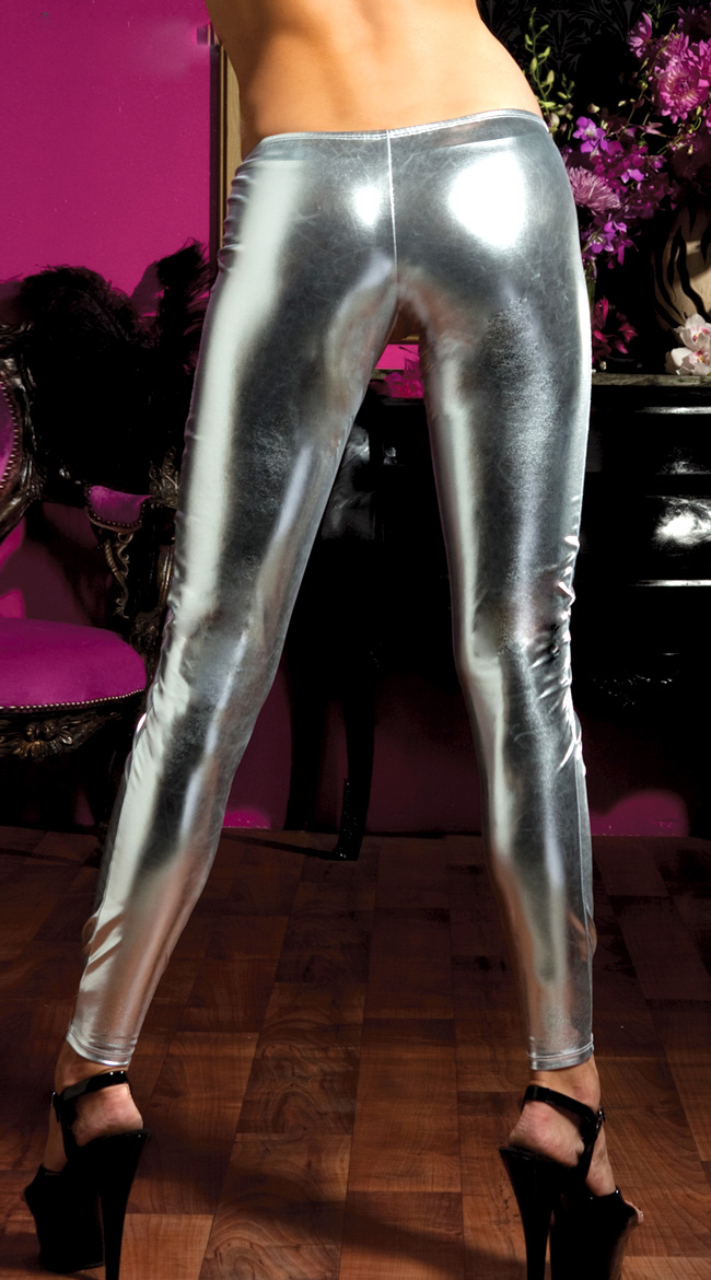 Shiny Stretch Lame Tights, silver Faux Leather Pants, Shiney Stretch Pants, #HG4346