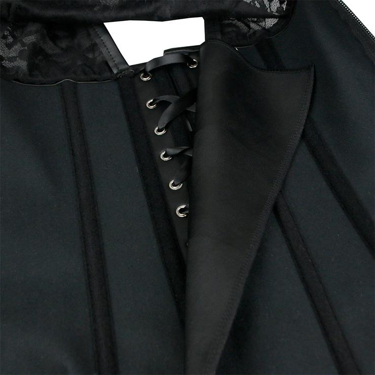 Heavy Steel Boned Corset, Cheap Outerwear Corset, Black Lace Trainer Vest Corset, Sexy Vest Corset, Black Trainer Vest Corset, PU Waist Cincher, #N18852