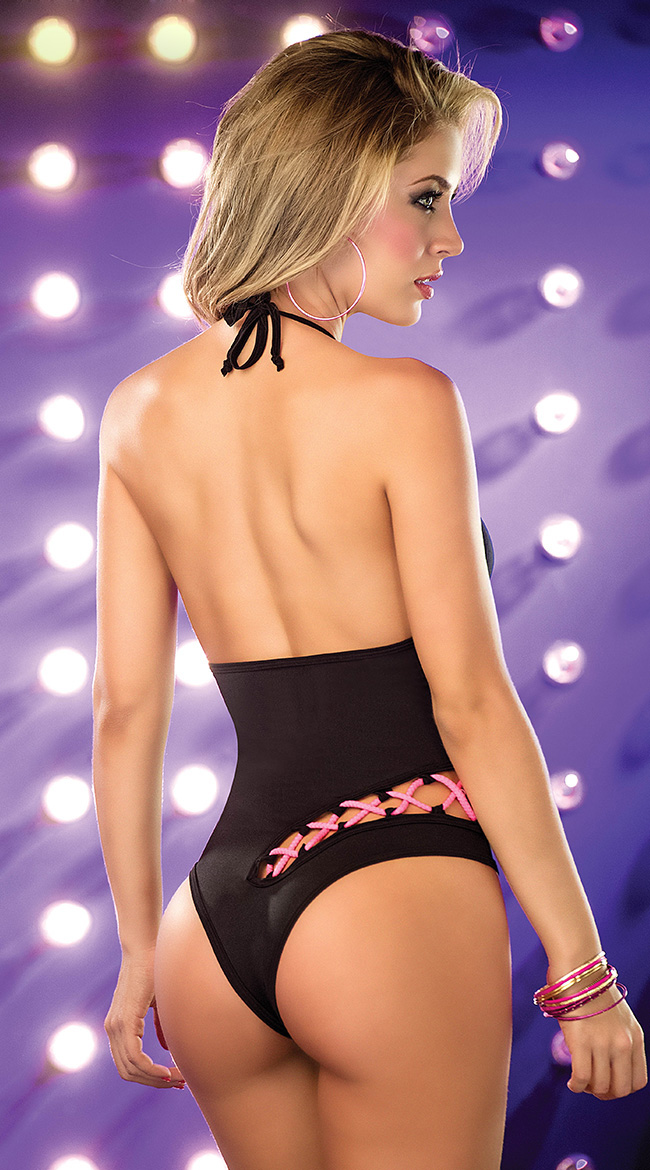 Halter Romper with Lace Up Cut Out, Sexy Black Romper, Black Lace Up Romper, #N5386