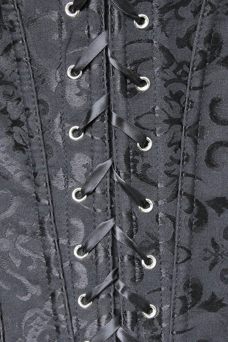 3b9007b516d Black Tie-Strap embroidered Corset M4269