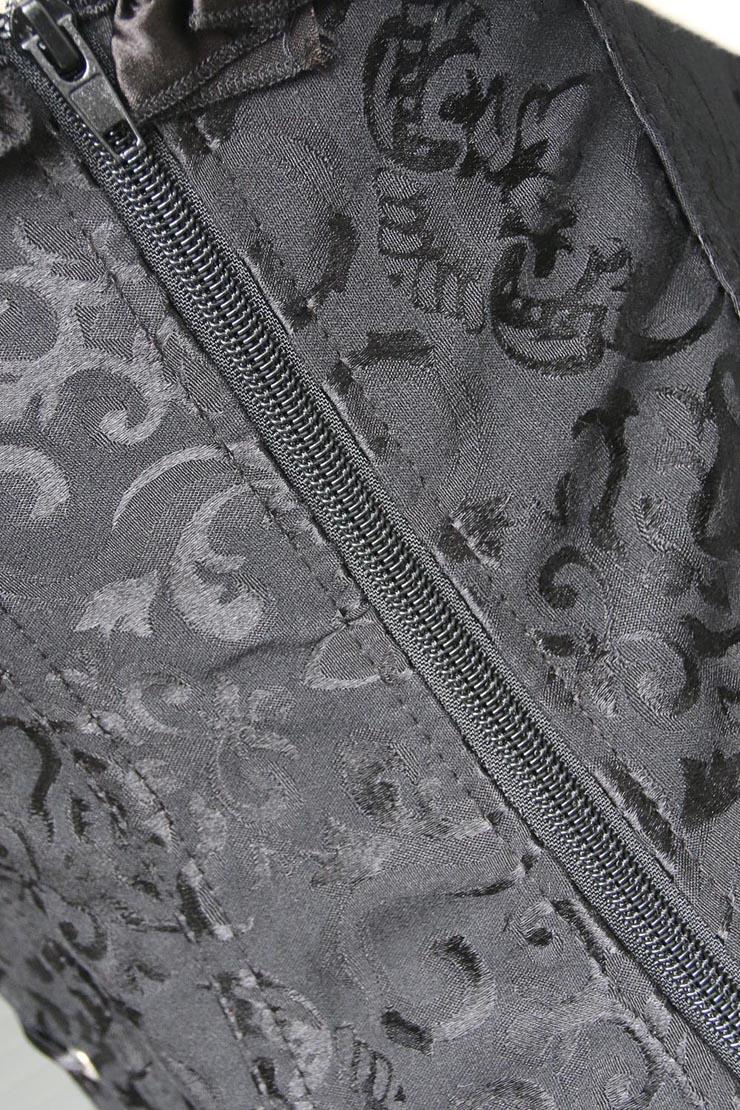 embroidered Corset, black Tie-Strap Corsets, ruffle tie straps Corsets, #M4269