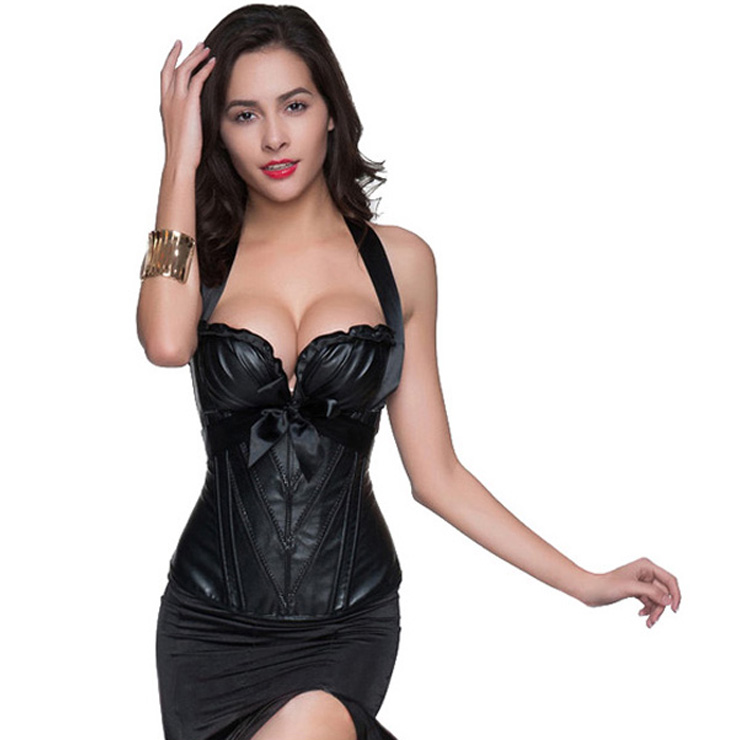 2c1ad61ff26 Glamorous Black Leather Halter Neck Top Ruffles Overbust Corset N10410