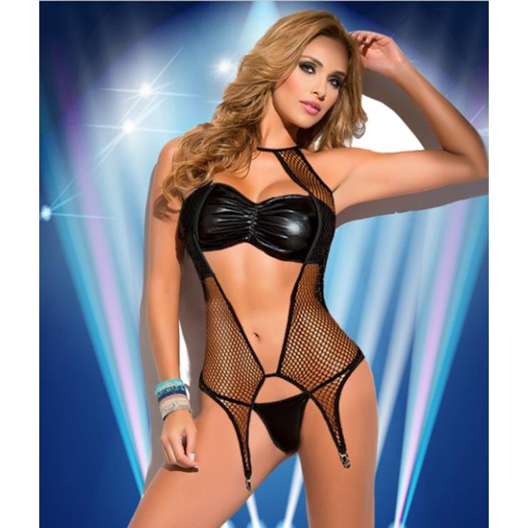 Sexy Black Leather Mesh PVC Wet Look Lingerie Bikini Set N11582