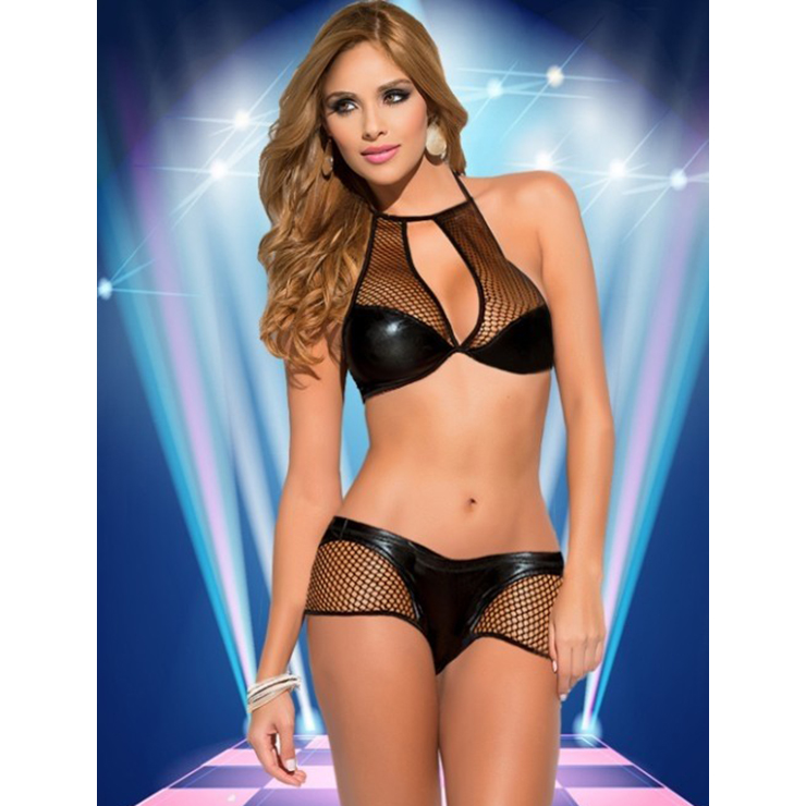 Sultry Black Mesh Leather Wet Look Hight Neck Lingerie Top Set N11580