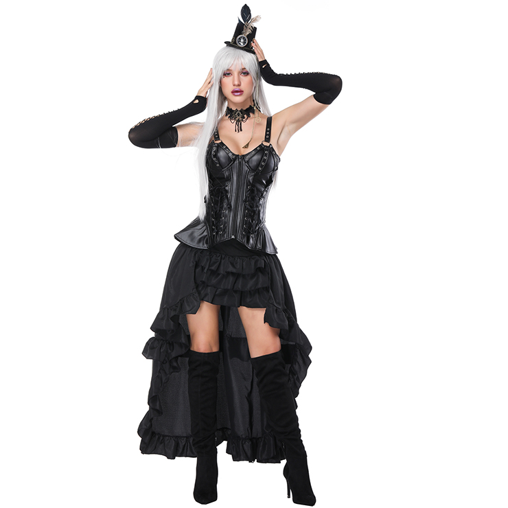 Women's Plastic Boned Leather Strappy Outerwear Corset High-low Skirt Set N16231