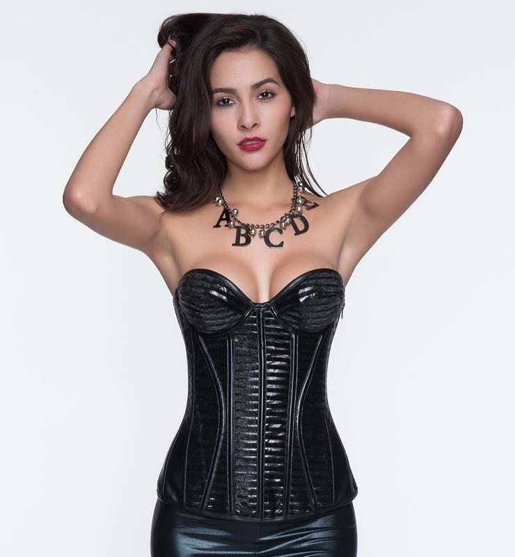 1686b54f081 Punk Black Leather with Velour Side Zipper Overbust Corset N10887