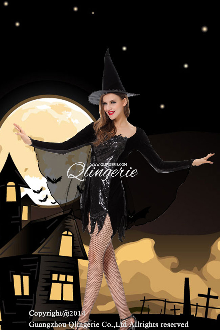 Black Magic Witch Costume, Black Witch Costume, Sequin Witch Costume, #W5840