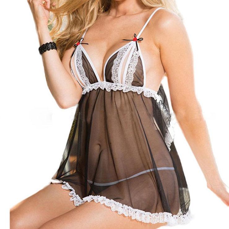 f02ba456864 Sexy Lace Trim Black See-through Mesh Babydoll Sleepwear Lingerie N16566