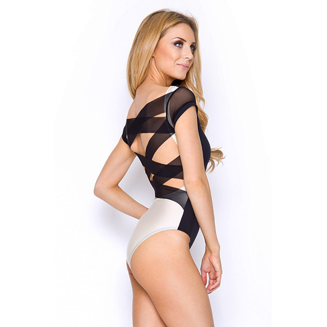 Sexy Black-white Mesh Straps Back One-piece Lingerie N8620