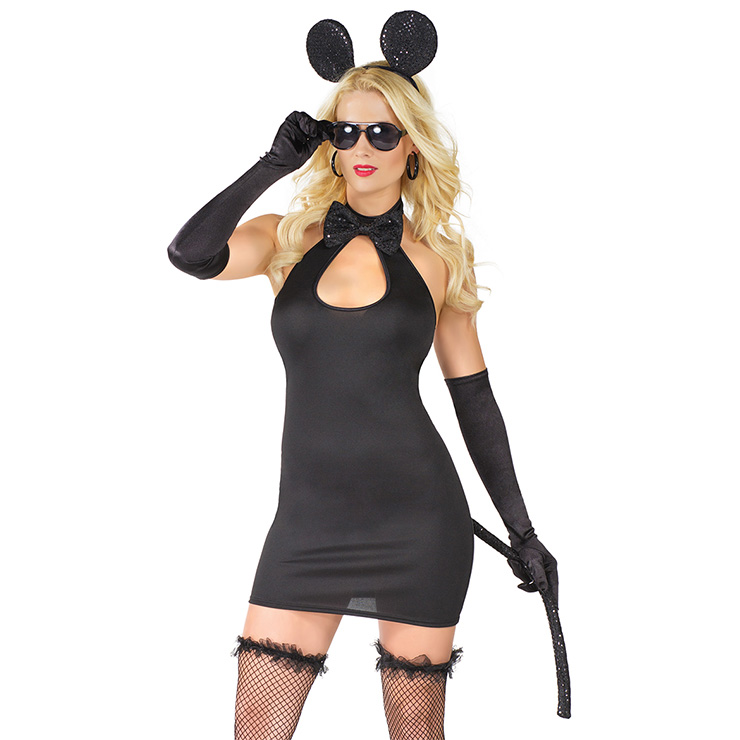 Women's Sexy Black Mouse Cosplay Adult Halloween Costume N18229