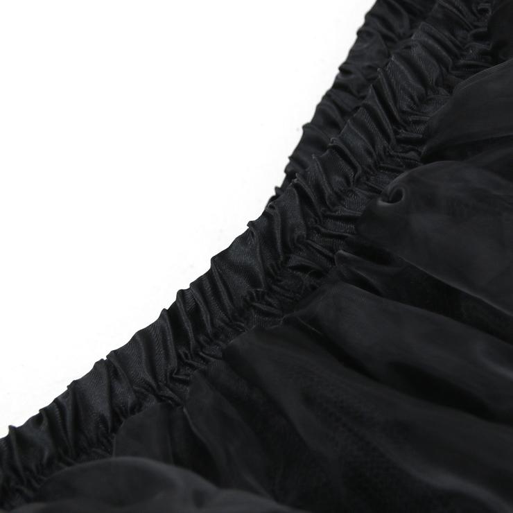 Asymmetry Tutu Skirt, Black High Waist High Low Skirt, Sexy Black Organza Skirt for Women, Fashion Party Costume Skirt, Halloween Costume Skirt, Organza High Low Skirt, #N16543