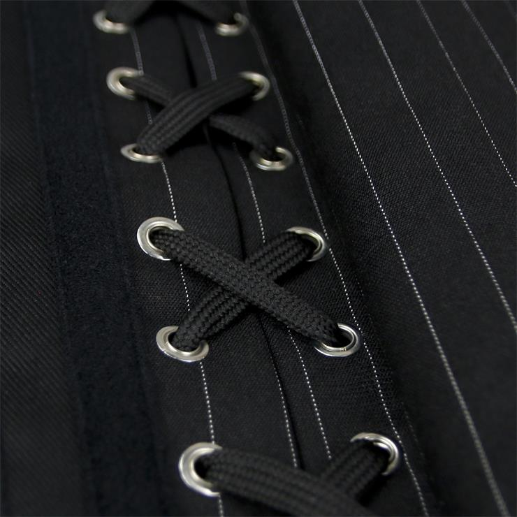 Punk Style Black Steel Boned Corset,Fashion Brocade Underbust Corset,Pinstripe Underbust With Buckle Closure, Leather Buckle Underbust Corset, Steel Bones Underbust Corset, #N20032