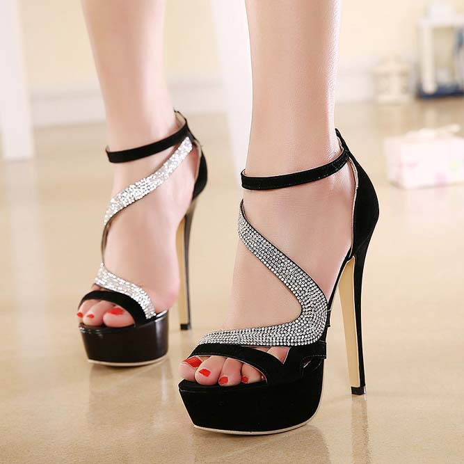 Hot Sale Black Rhinestone Ankle Wrap Open Toe High Heel Sandals ...