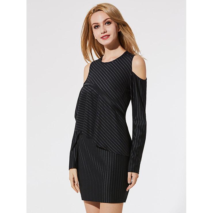 Women's Black Round Neck Long Sleeve Cold Shoulder Stripe Casual Mini Dress N15345