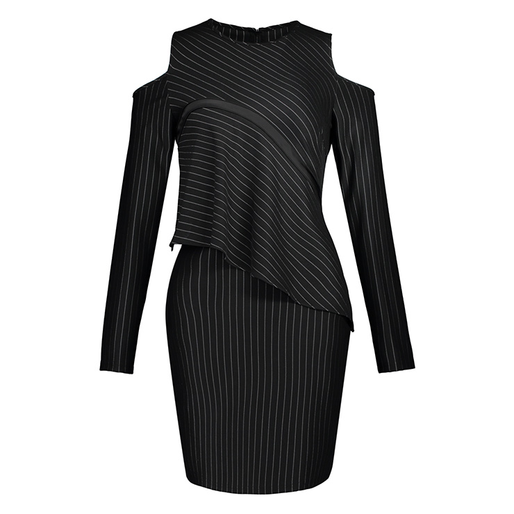 Long Sleeve Mini Dress, Round Neck Dresses, Cold Shoulder Mini  Dress, Black Stripe Dresses, Sexy Party Dress for Women, Mini Dresses, Work Office Dresses, #N15345