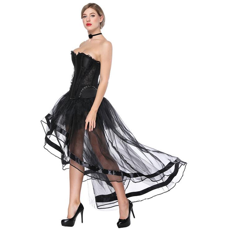 60e6c638cb6 Fashion Black Victorian Satin Plastic Boned Overbust Corset High-low Organza  Tutu Skirt Set N16578