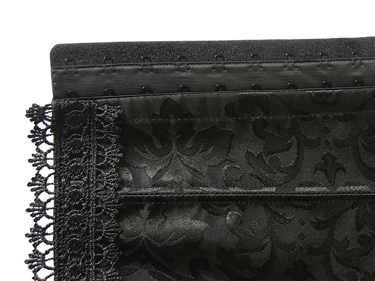 Elegant Black Halter Corset, Cheap High Quality Corset, Jacquard Weave Lace Edge Underbust Corset, #N12858