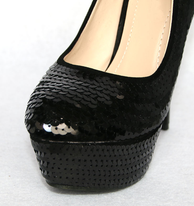 Black Sequin Court Shoes, Platform Court Shoes, Concealed Sequin Shoes, #SWS12025