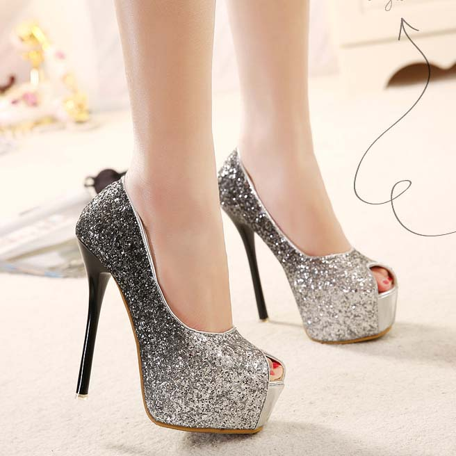 c7458cd749416a Fashion Black Gradient Shimmering Powder Peep Toe High Heels SWS20321