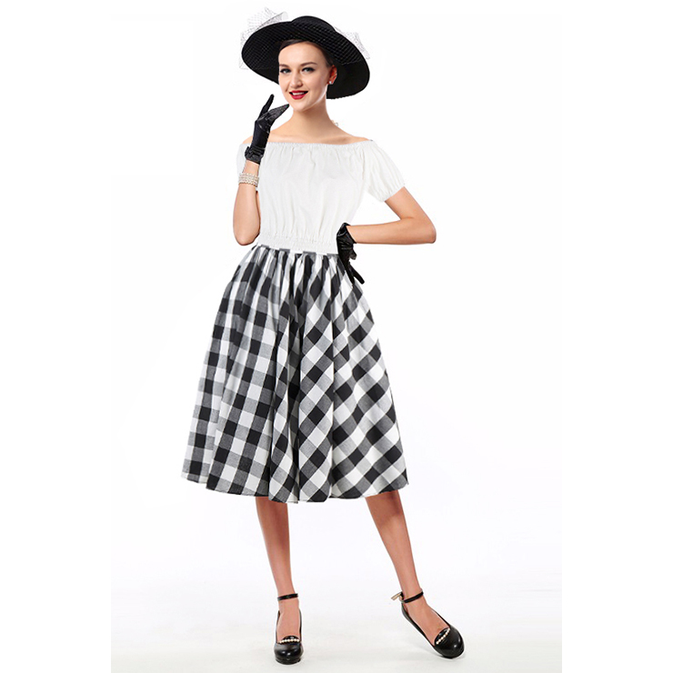 Sexy White Short Sleeve Off Shoulder Crop Top and Plaid Skirt Set N12970