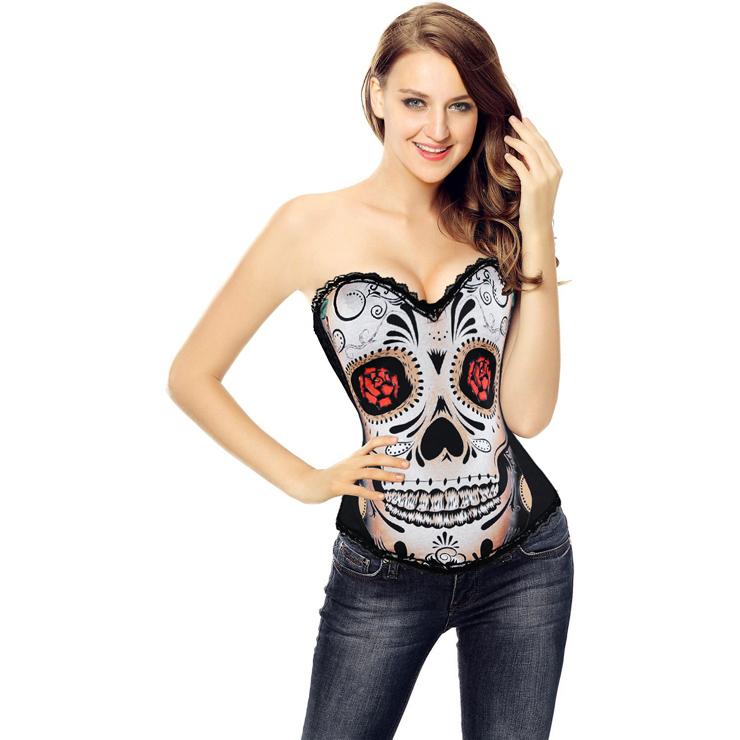 Sexy Black Lace Corset, Black Halloween Costume Corset,  Day of The Dead Halloween Costume Corset for Women, #N11202