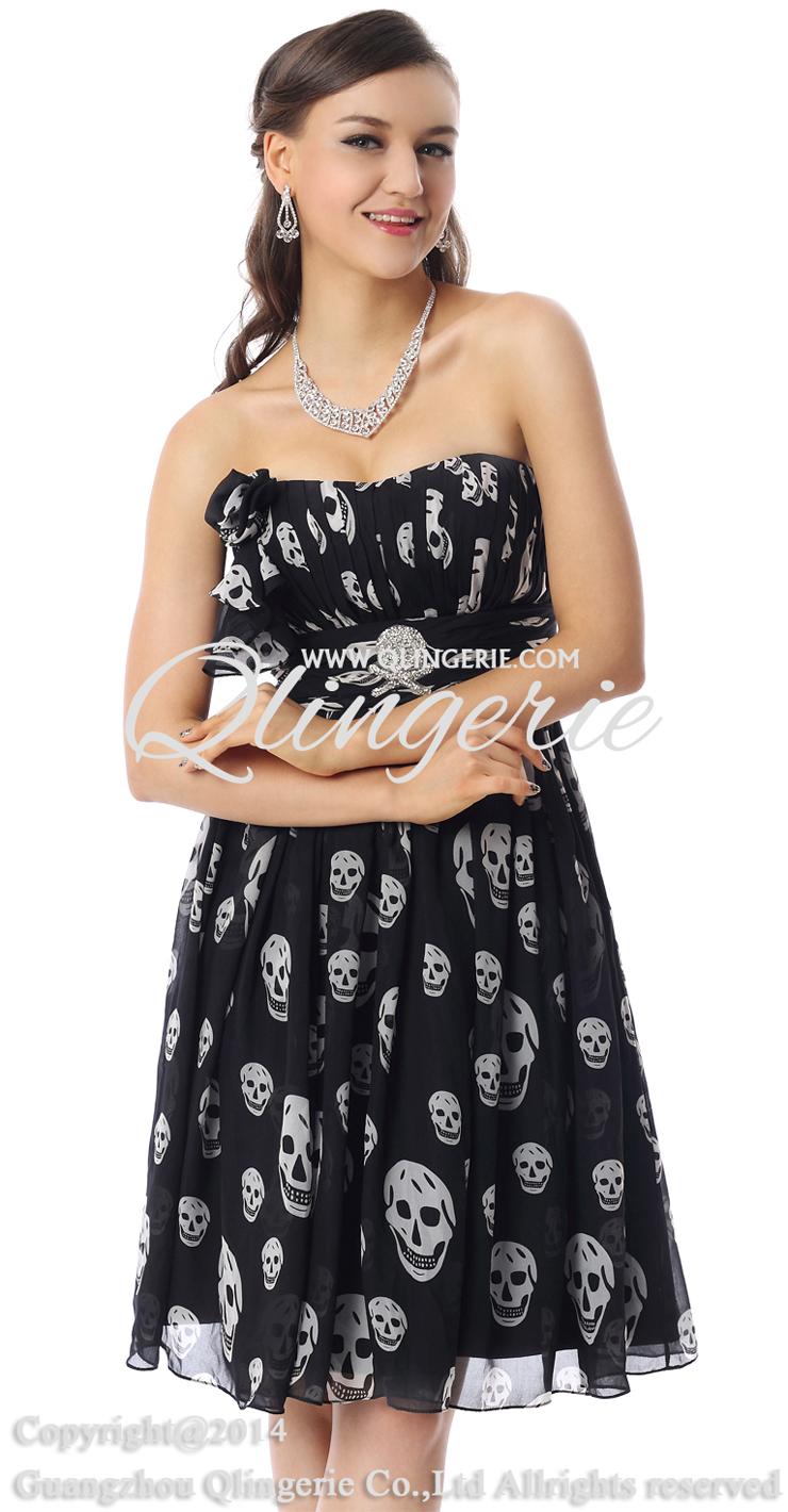 Amazing Black Skull Prints Dress, Fashion Skull Pattern Dress, Cheap Prom Dress on sale, Prom Dress for Women