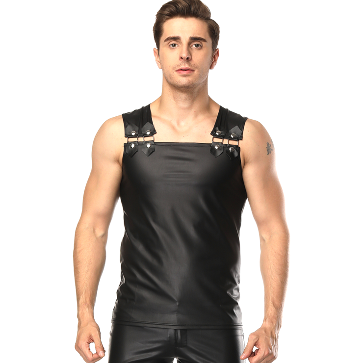 Mens Black Sleeveless Faux Leather Undershirt Vest N15663