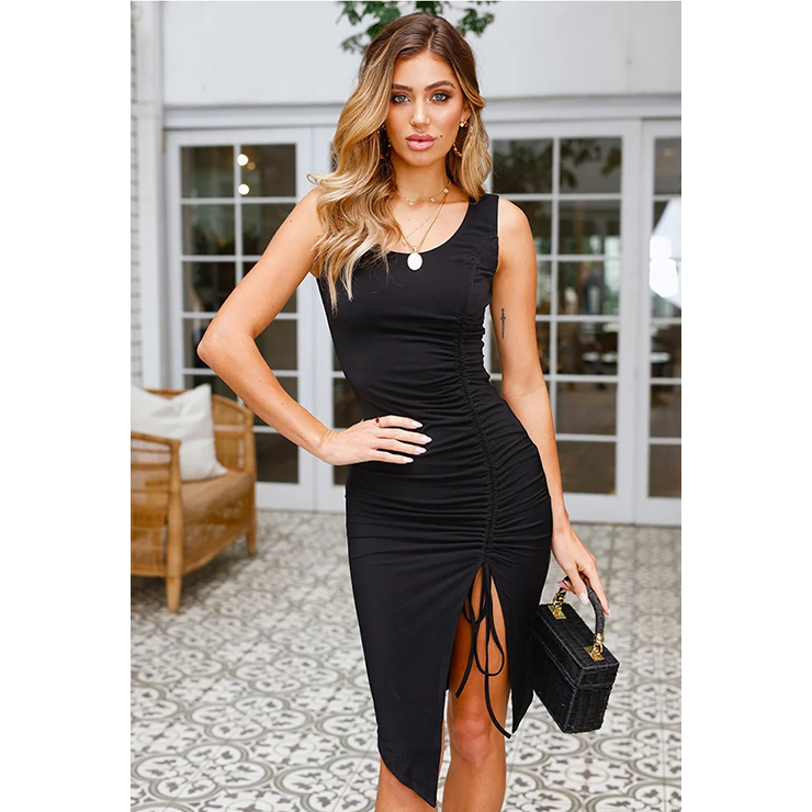 Women's Sexy Black Sleeveless Split Pleated Bodycon Midi Tank Dress N17971