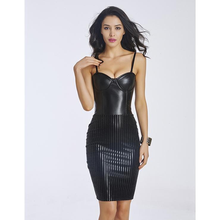 Fashion Black Spaghetti Strap Cocktail Party Bodycon Dress N11376