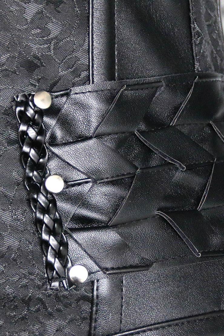 Black Steel Bone Corset, Punk Underbust Corset, Cheap Artificial Leather Weave Underbust Corset, Women