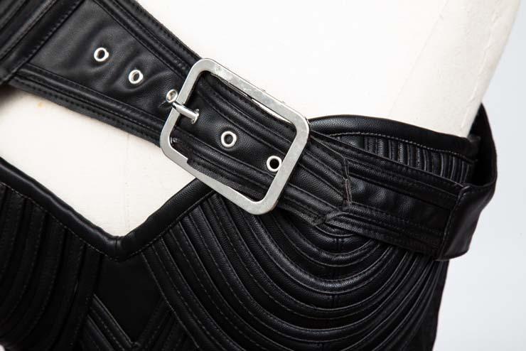 Heavy Steel Boned Corset, Cheap Black Outerwear Corset, Halloween Warrior Corset, Faux Leather Corset, Plus Size Corset, Punk Spiral Stripe Shape Corset, #N10872