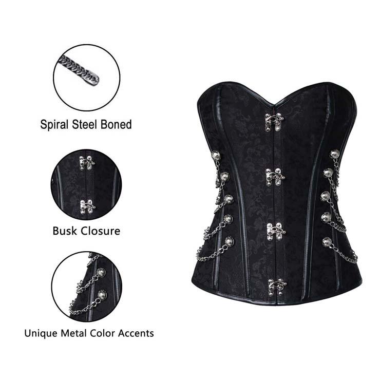 Overbust Steel Boned Corset, Black Steel Boned Steampunk Corset, Steel Boned Steampunk Style Overbust Corset, #N5545