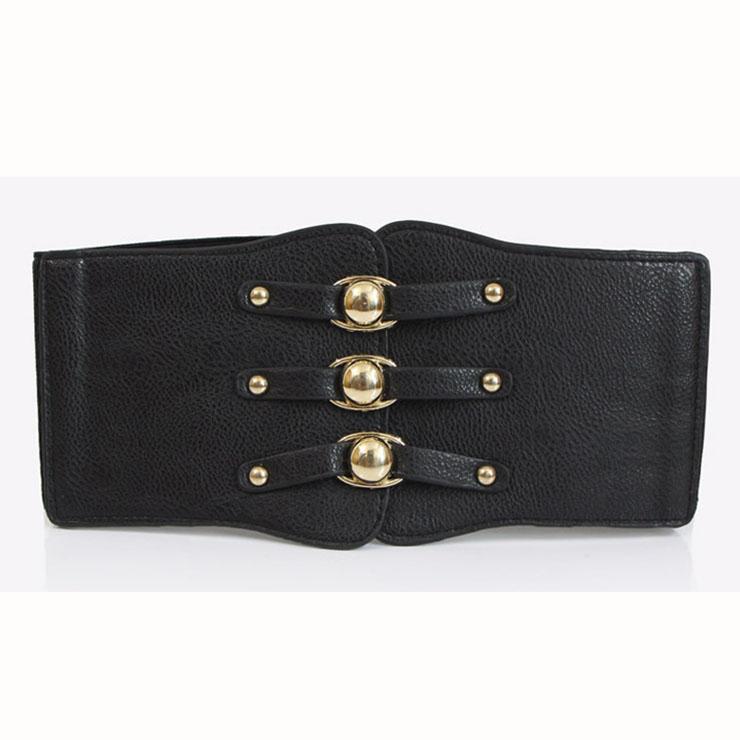 Fashion Black Leather Stretch Waistband High Waisted Cincher Corset Belt N14795