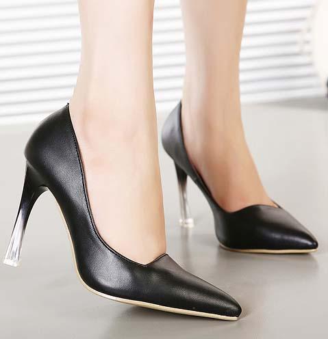 fashion black pointed toe translucent heel highheeled