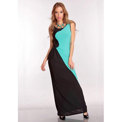 Black & Turquoise Long Dress N6193