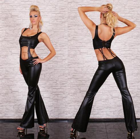 Black Vinyl Catsuit, Vinyl Jumpsuit, Black vinyl Jumpsuit, #N5905