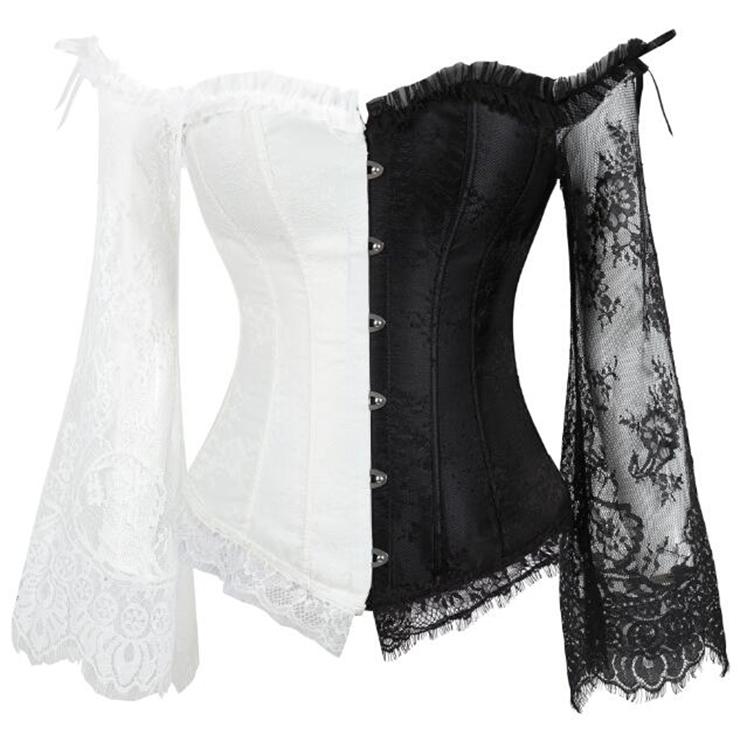 Outerwear Corset for Women, Fashion Lace Corset Black/White, Cheap Shapewear Corset, Womens Bustier Top, Plastic Boned Corset, Black/White Corset for Women, #N16211