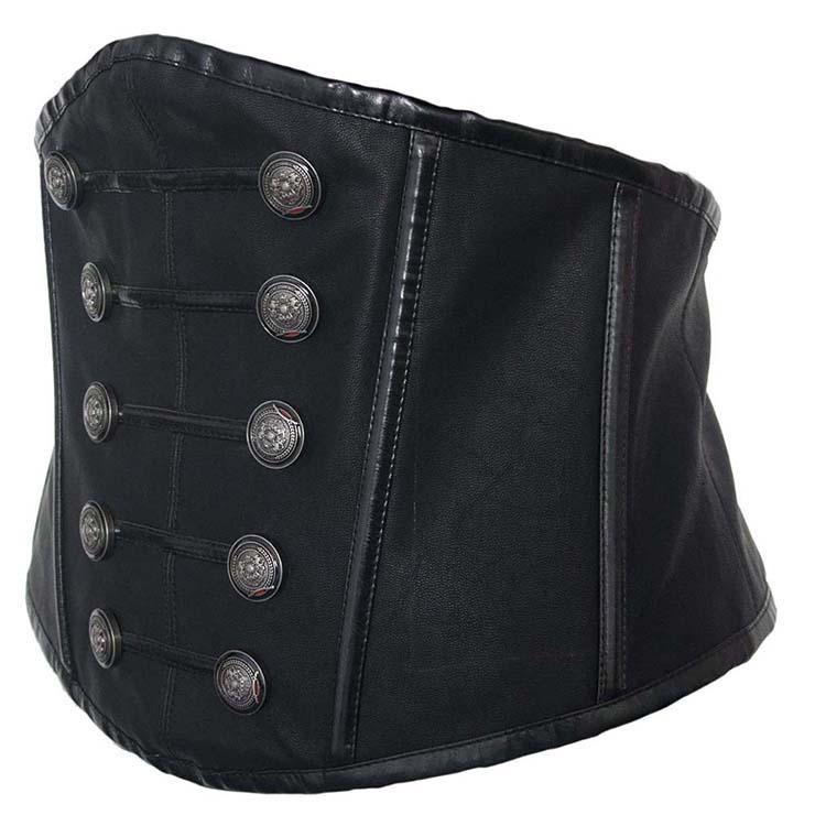 Black Steel Boned Corset, Retro Women