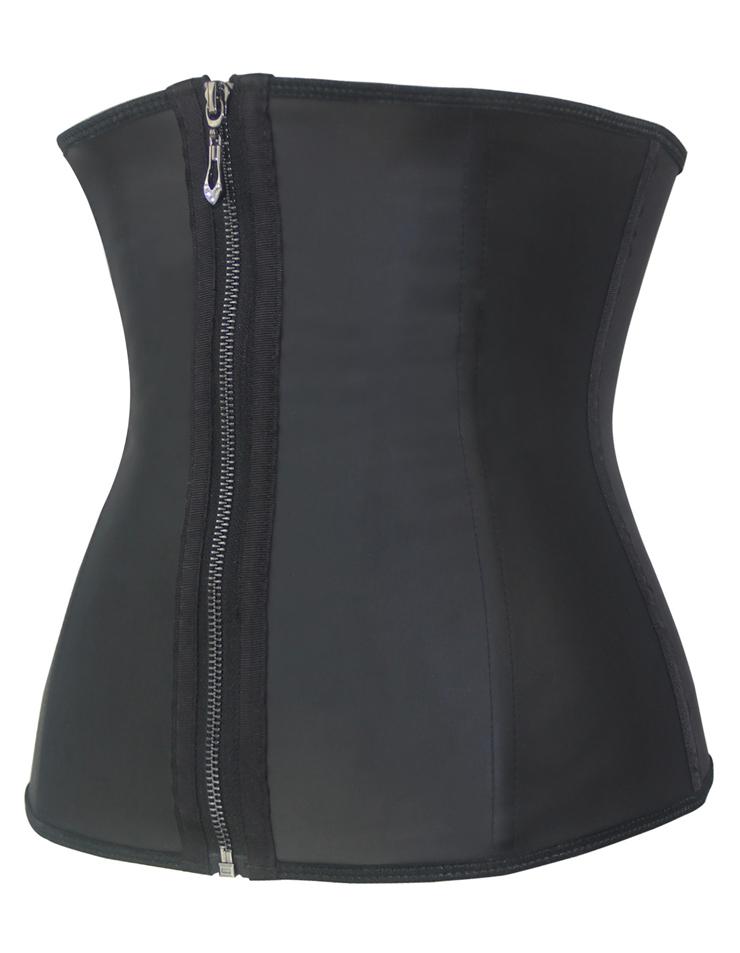 Sexy Latex Underbust Corset, Cheap Waist Cincher Corset, Black Steel Boned Corset, Hook and Eye Closure and Zipper Corset, Plus Size Corset, #N10798