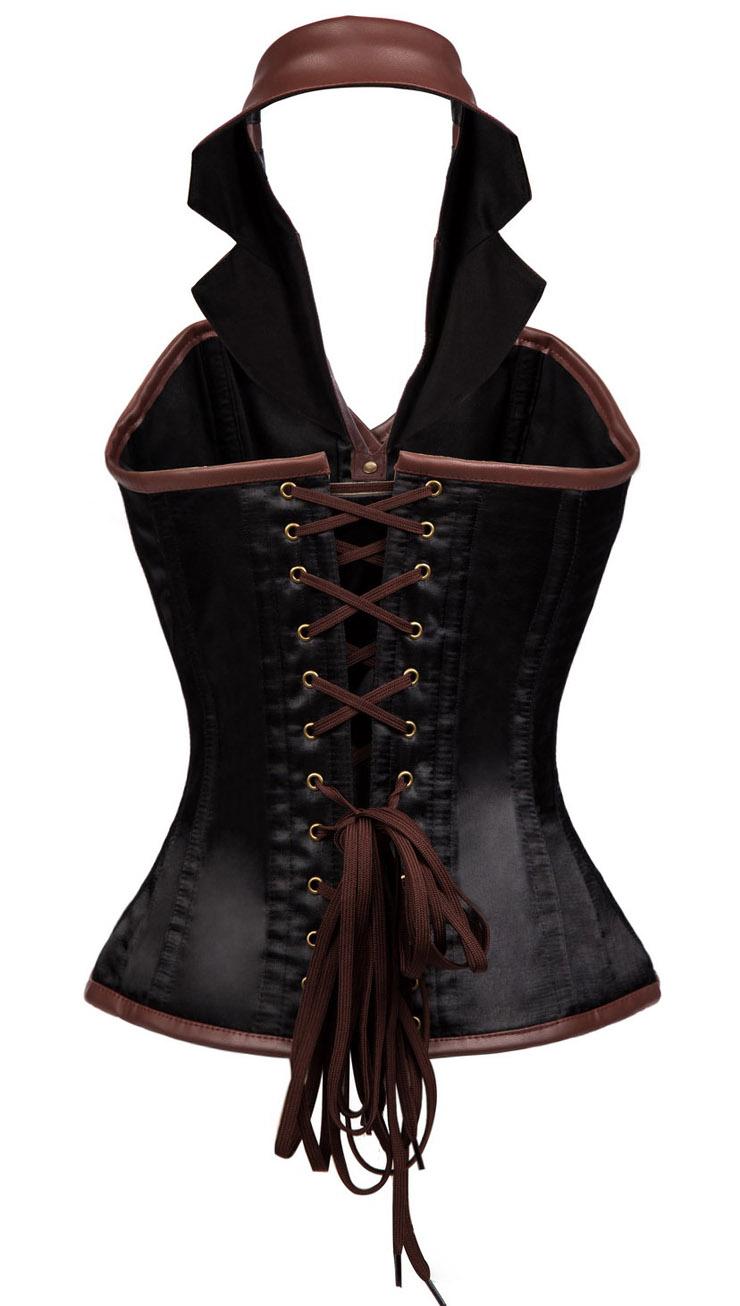 Sexy Steel Boned Corset, Retro Brown and Black Overbust Corset, Women