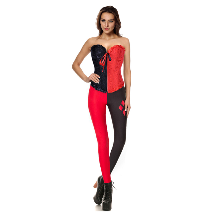 Sexy Black and Red Corset Leggings Sets Superhero Joker Miss Halloween Costume N16011