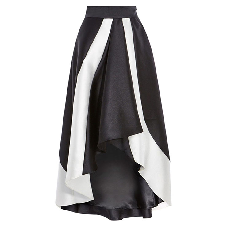 fashion black and white s high waist high low