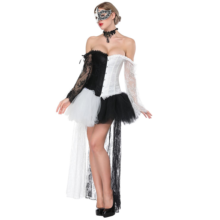 Fashion Black/White Plastic Boned Lace Overbust Corset High-low Skirt Set N16494