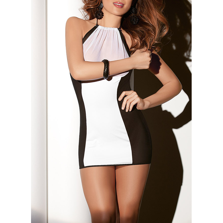 Sexy Black and White Splicing Halter Mesh One-piece Chemise Lingerie N16911