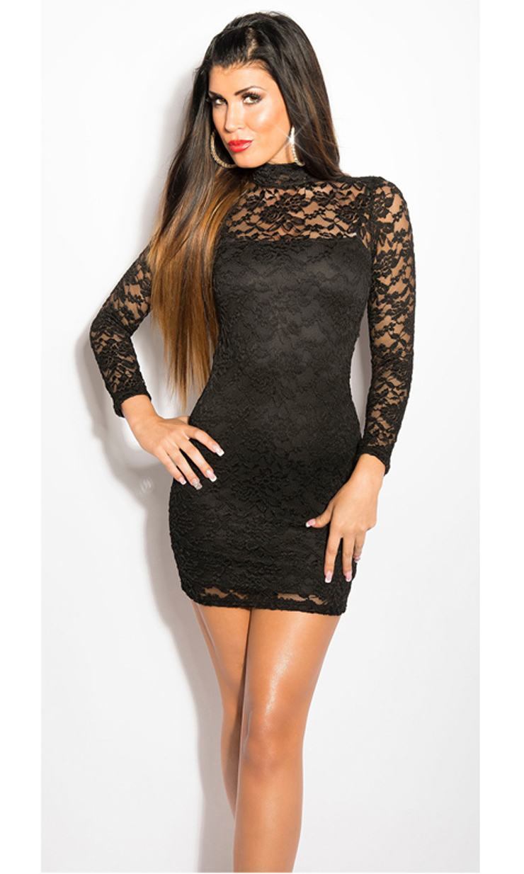 Lace Sleeve Dress with open back, Stretch Lace Mini Dress, Stretch Lace Long Sleeve Mini Dress, #N6837