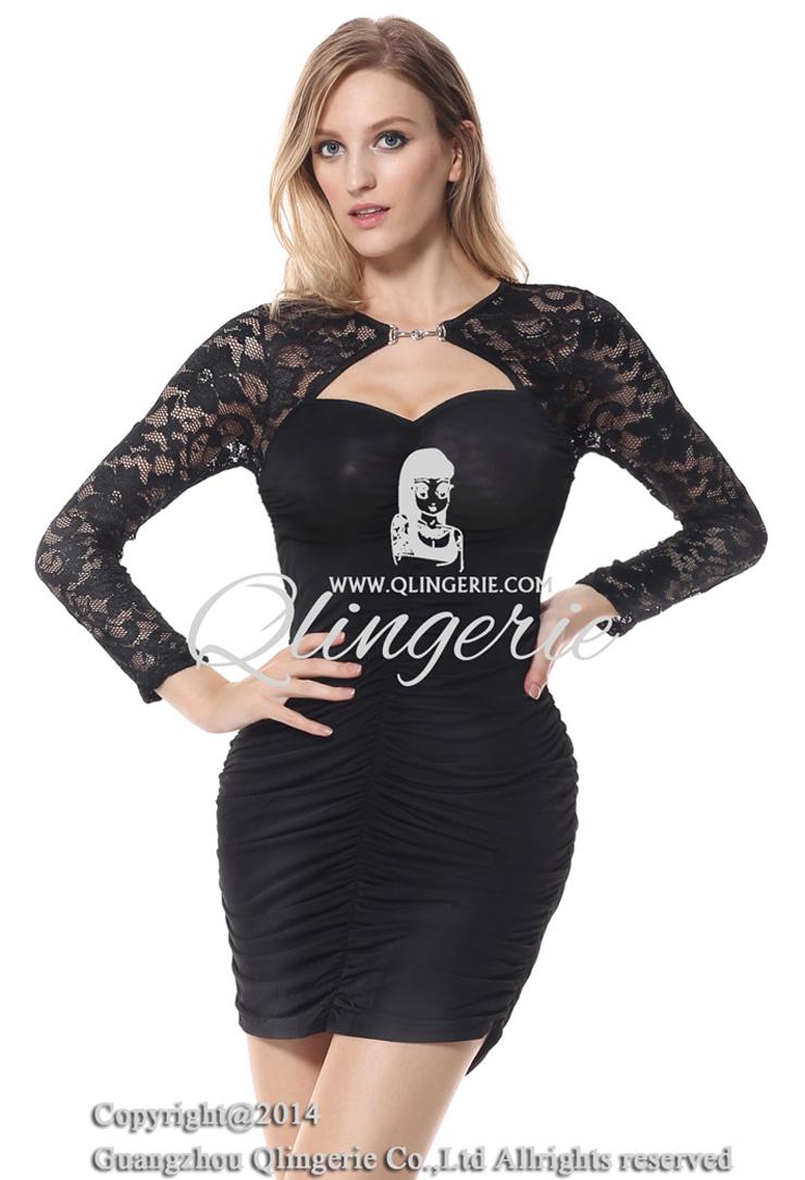 Black dress with lace bolero, stretch lace sleeves dress, Women Black Dress, #N6881