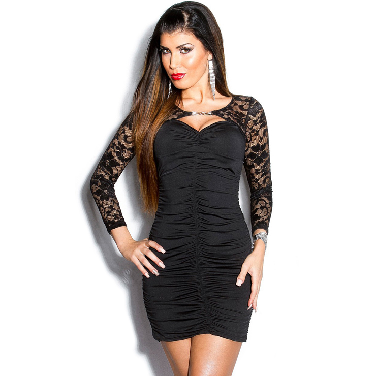 Black dress with lace bolero N6881