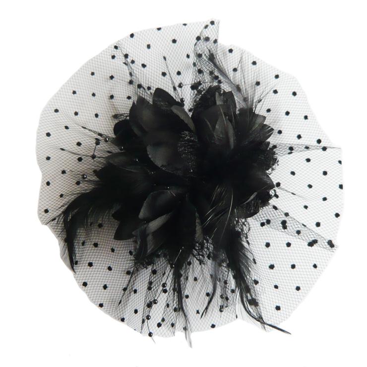 Black Flower Hair Accessory J7213