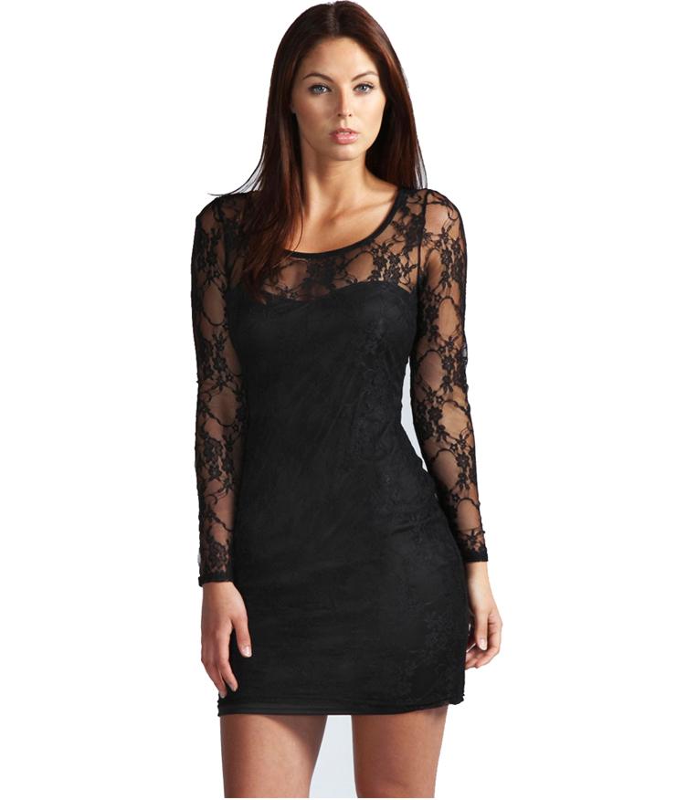 Iconic tummy black mini bodycon dress long sleeve kookai